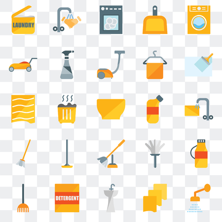 Set Of 25 transparent icons such as Shower, Rag, Sink, Detergent, Rake, Wiper, Bleach, Toilet brush, Broom, Lawn mower, Dishwasher, Hand wash, web UI transparency icon pack