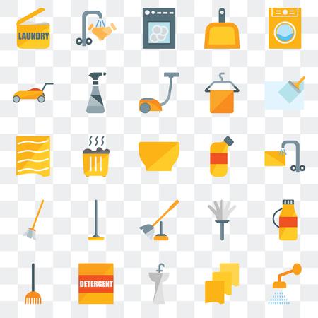 Set von 25 transparenten Symbolen wie Dusche, Lappen, Spüle, Waschmittel, Rechen, Wischer, Bleichmittel, Toilettenbürste, Besen, Rasenmäher, Spülmaschine, Handwäsche, Web-UI-Transparenz-Icon-Pack