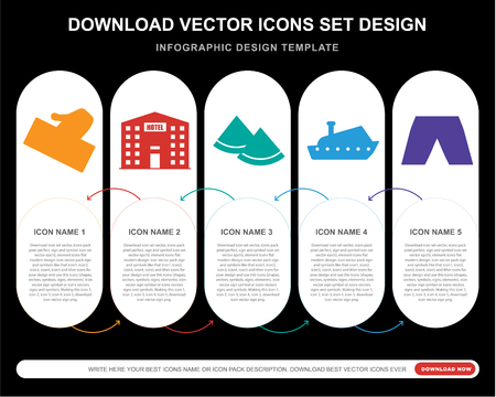 5 vector icons such as Ticket, Hotel, Watermelon, Yatch, Short for infographic, layout, annual report, pixel perfect icon