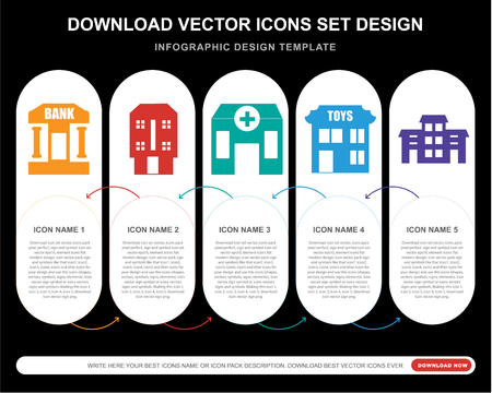 5 vector icons such as Bank, House, Clinic, Toys, Building for infographic, layout, annual report, pixel perfect icon Vectores