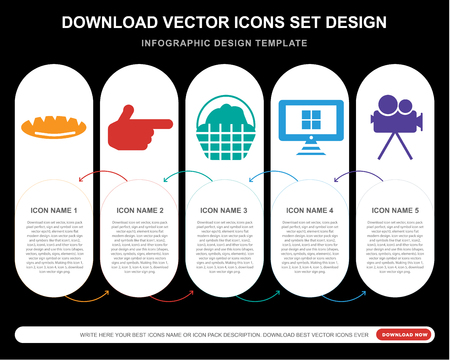5 vector icons such as Loaf of Bread, Finger Gun, Basket Full,  Screen, Movie camera for infographic, layout, annual report, pixel perfect icon Standard-Bild - 107022531