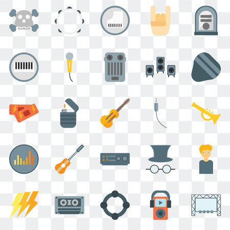 Set Of 25 transparent icons such as Big screen, Mp3, Tambourine, Cassette tape, Ray, Guitar pick, Audio jack, Amplifier, Equalizer, Piano, web UI transparency icon pack
