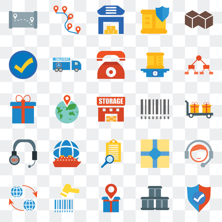 Set Of 25 transparent icons such as Shield, Package, Placeholder, Barcode scanner, Global, Diagram, Barcode, Clipboard, Customer service, Accept, Warehouse, Route, web UI transparency icon pack
