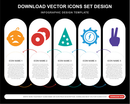 5 vector icons such as Crying baby, CD Record, Triangular Pizza slice, Hydro power generation, Two fingers up for infographic, layout, annual report, pixel perfect icon