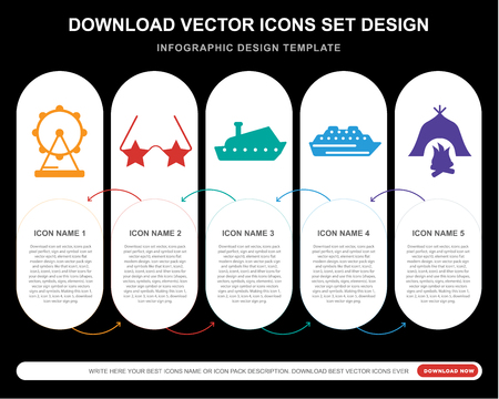 5 vector icons such as Ferris wheels, Sunglasses, Yatch, Cruise, Campfire for infographic, layout, annual report, pixel perfect icon