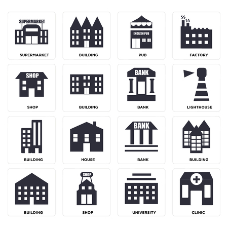 Set Of 16 icons such as Clinic, University, Shop, Building, Supermarket, Bank, web UI editable icon pack, pixel perfect