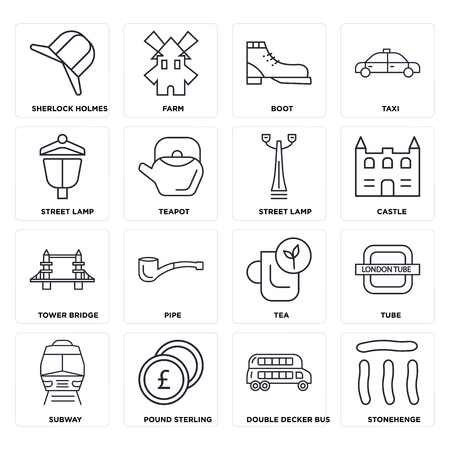 Set Of 16 icons such as Stonehenge, Double decker bus, Pound sterling, Subway, Tube,  Street lamp, Tower bridge, web UI editable icon pack, pixel perfect