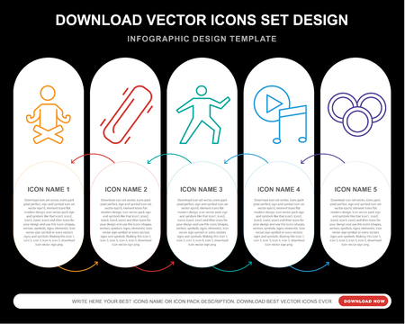 5 vector icons such as Yoga, Skateboard, Music player, Coins for infographic, layout, annual report, pixel perfect icon