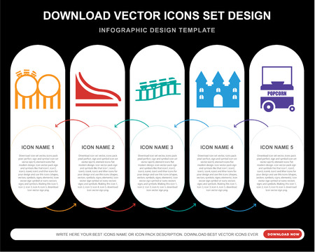 5 vector icons such as Childhood, Slide, Roller coaster, Bouncy castle, Popcorn for infographic, layout, annual report, pixel perfect icon