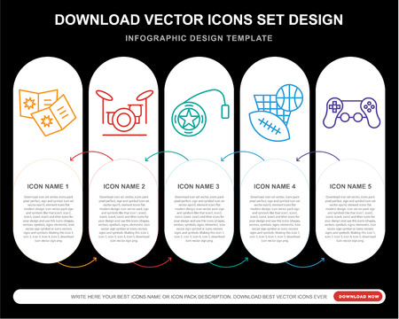 5 vector icons such as Comic, Drum set, Yoyo, Sports, Video game for infographic, layout, annual report, pixel perfect icon