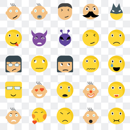 Set Of 25 transparent icons such as Sick smile, Relieved Sad Baby Angry Evil Clown web UI transparency icon pack, pixel perfect