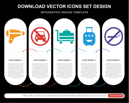 5 vector icons such as Hairdryer, Car, Room service, Luggage, No smoking for infographic, layout, annual report, pixel perfect icon Vektoros illusztráció