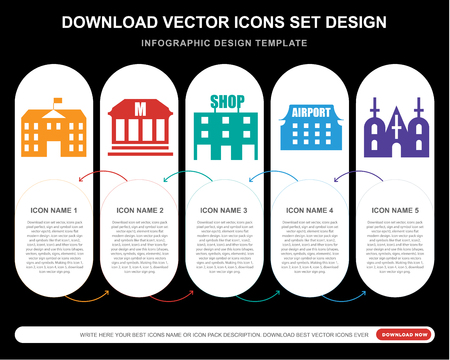 5 vector icons such as School, Museum, Shop, Airport, Church for infographic, layout, annual report, pixel perfect icon