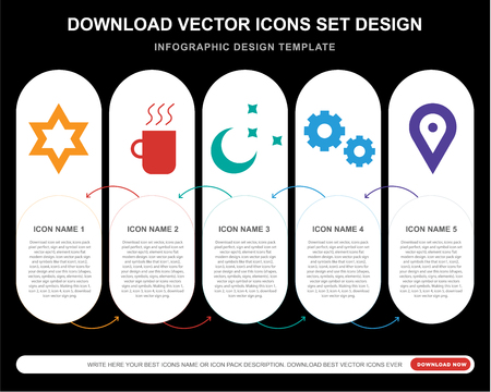5 vector icons such as Star of David, Warm black mug, Clear night, Gear Option, Locato for infographic, layout, annual report, pixel perfect icon
