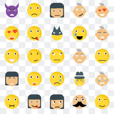 Set Of 25 transparent icons such as Winking smile, Sca Ti Sad Sick Happy Gangster Laughing web UI transparency icon pack, pixel perfect 일러스트