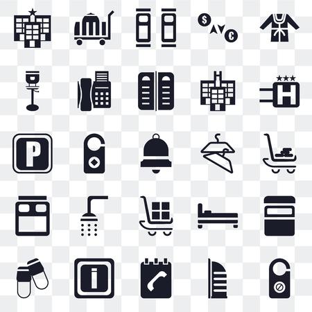 Set Of 25 transparent icons such as Doorknob, Burj al arab, Agenda, Information, Slippers, Hotel, Hanger, Luggage, Bed, Stool, Beds, Room service, web UI transparency icon pack Ilustração