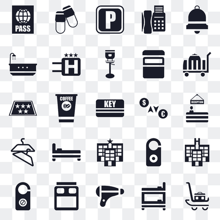 Set Of 25 transparent icons such as Luggage, Bunk, Hairdryer, Bed, Doorknob, Room service, Exchange, Hotel, Hanger, Bathtub, Parking, Slippers, web UI transparency icon pack Vetores