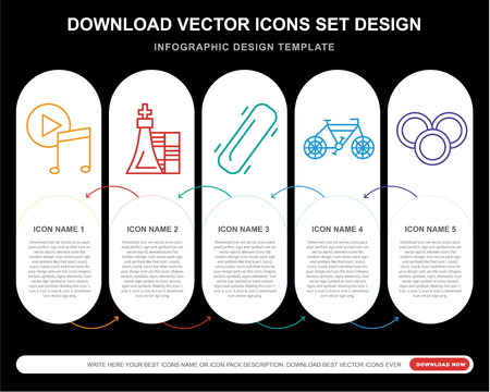 5 vector icons such as Music player, Chess, Skateboard, Bicycle, Coins for infographic, layout, annual report, pixel perfect icon