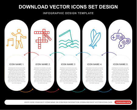 5 vector icons such as Dancing, Crossword, Fishing, Surfboard, Game console for infographic, layout, annual report, pixel perfect icon