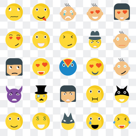 Set Of 25 transparent icons such as Laughing smile, Happy Smile Sick Sceptic web UI transparency icon pack, pixel perfect
