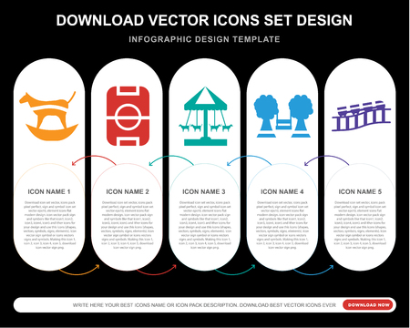 5 vector icons such as Ride, Playground, Roller coaster for infographic, layout, annual report, pixel perfect icon