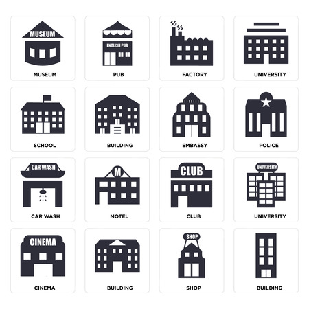 Set Of 16 icons such as Building, Shop, Cinema, University, Museum, School, Car wash, Embassy, web UI editable icon pack, pixel perfect Illustration