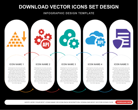 5 vector icons such as Pyramid chart, Api, Software, File for infographic, layout, annual report, pixel perfect icon Illustration