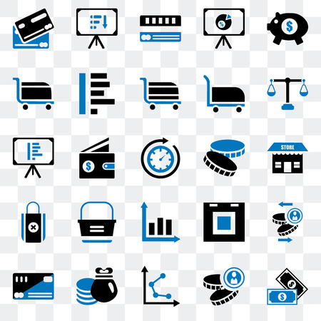 Set Of 25 transparent icons such as Notes, Coin, Graph, Rich, Cit card, Justice scale, Bag, Cart, Presentation, web UI transparency icon pack 矢量图像