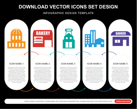 5 vector icons such as Capitol, Bakery, Shop, Building, Barbershop for infographic, layout, annual report, pixel perfect icon