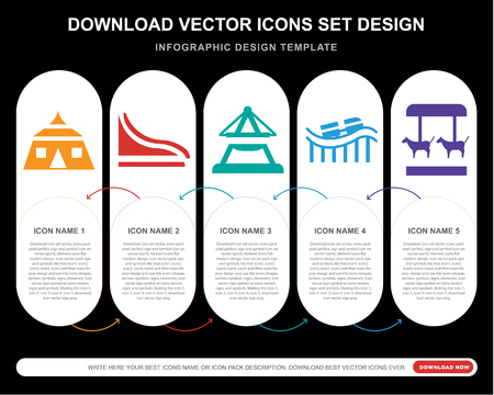 5 vector icons such as Ride, Slide, Boat, Roller coaster, Merry go round for infographic, layout, annual report, pixel perfect icon
