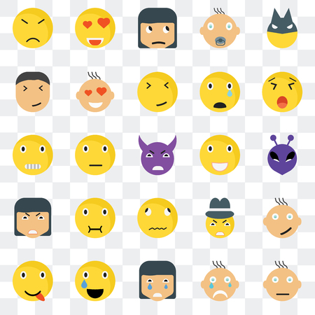 Set Of 25 transparent icons such as Confused smile, Alien Yawning In love Happy Love Gangster Creepy web UI transparency icon pack, pixel perfect 일러스트