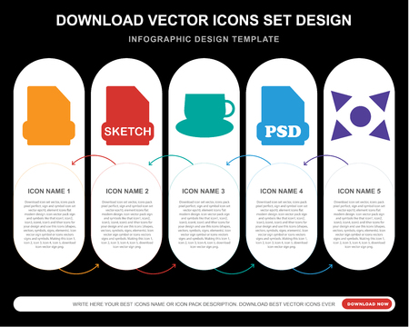 5 vector icons such as Html, Sketch, Tea cup, Psd, Expand for infographic, layout, annual report, pixel perfect icon