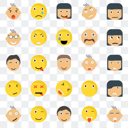 Set Of 25 transparent icons such as Ti smile, Happy Sceptic Sad Angry Silent Wink web UI transparency icon pack, pixel perfect