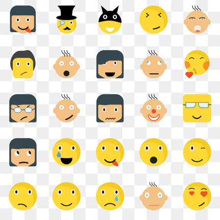 Set Of 25 transparent icons such as In love smile, Nerd Kiss Gentleman Confused Shocked Angry web UI transparency icon pack, pixel perfect