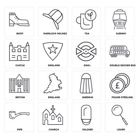 Set Of 16 icons such as Loupe, Soldier, Church, Pipe, Pound sterling, Boot, Castle, British, Goal, web UI editable icon pack, pixel perfect Illustration