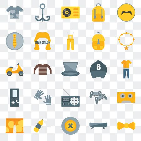 Set Of 25 transparent icons such as Bow tie, Boards, Buttons, Foam, Clothing, Accessory, Baseball cap, Radio,   Turntable, Navy, web UI transparency icon pack