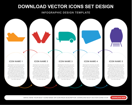 5 vector icons such as Yatch, Flippers, Caravan, Postcard, Train for infographic, layout, annual report, pixel perfect icon