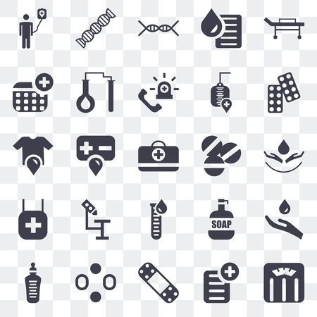 Set Of 25 transparent icons such as Weighing scale, Prescription, Band aid, Blood, Feeding bottle, Drugs, Pill, Blood test, Pharmacy, Dna, web UI transparency icon pack