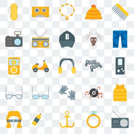 Set Of 25 transparent icons such as Radio, Accesory, Anchor, Foam, Hair salon, Clothing, Gamepad, Accessory, Photo camera, Music player, web UI transparency icon pack