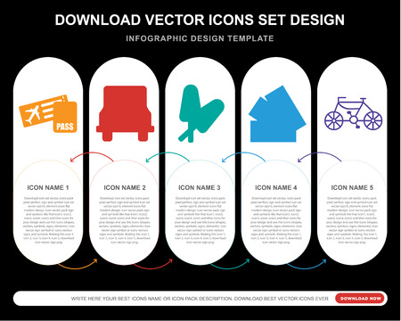 5 vector icons such as Boarding pass, Bus, Ice lolly, Cash, Bike for infographic, layout, annual report, pixel perfect icon Ilustração