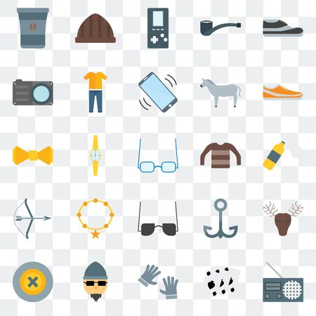 Set Of 25 transparent icons such as Radio, Leisure, Accessory, Hipster, Buttons, Sneakers, Long sleeves, Sunglasses, Archery, Photo camera,  Accessory, web UI transparency icon pack 矢量图像