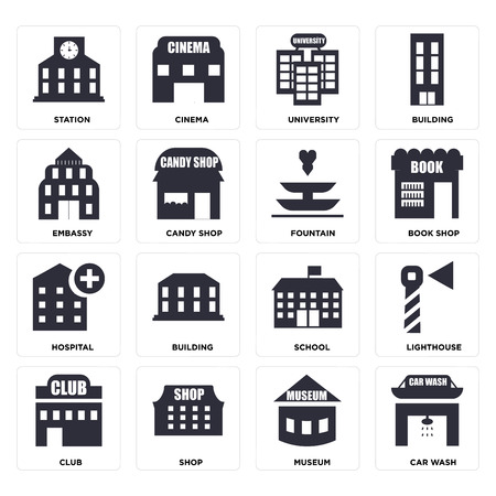 Set Of 16 icons such as Car wash, Museum, Shop, Club, Lighthouse, Station, Embassy, Hospital, Fountain, web UI editable icon pack, pixel perfect Illustration
