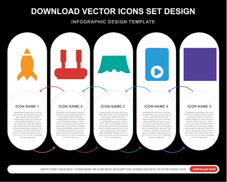 5 vector icons such as Missile, Joystick, Console,  Die for infographic, layout, annual report, pixel perfect icon 矢量图像