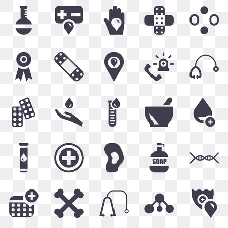 Set Of 25 transparent icons such as Shield, Bacterias, Stethoscope, Bone, Blood, Mortar, Ear, Blood test, Ribbon, donation, web UI transparency icon pack Ilustração