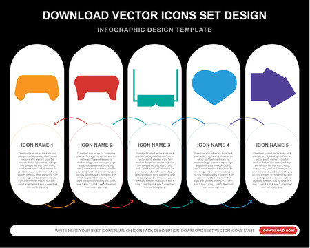 5 vector icons such as Gamepad, 3d glasses, Heart, Club card for infographic, layout, annual report, pixel perfect icon