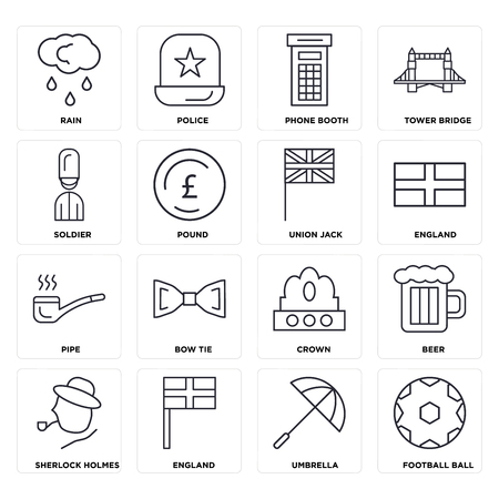 Set Of 16 icons such as Football ball, Umbrella, England, Sherlock holmes, Beer, Rain, Soldier, Pipe, Union jack, web UI editable icon pack, pixel perfect