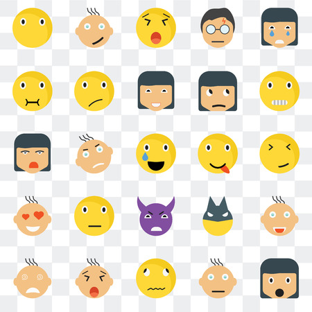 Set Of 25 transparent icons such as Surprised smile, Faint Creepy Happy Crying Sceptic Superhero Ti web UI transparency icon pack, pixel perfect 일러스트