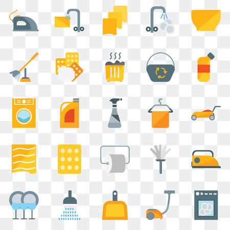 Set Of 25 transparent icons such as Dishwasher, Vacuum, Dustpan, Shower, Dish, Bleach, Towel, Toilet paper, Drying, brush, Rag, Soak, web UI transparency icon pack