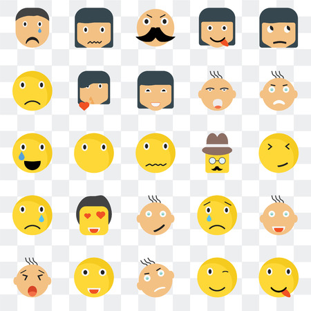 Set Of 25 transparent icons such as Happy smile, Faint Angry Sca Yawning Kiss Sad Relieved web UI transparency icon pack, pixel perfect