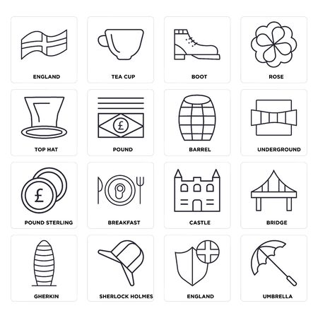 Set Of 16 icons such as Umbrella, England,  Gherkin, Bridge, Top hat, Pound sterling, Barrel, web UI editable icon pack, pixel perfect